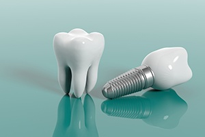 Model natural tooth and dental implant supported dental crown